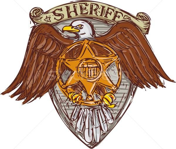 şerif rozet amerikan kartal kalkan çizim Stok fotoğraf © patrimonio