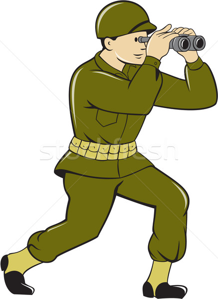 World War Two American Soldier Binoculars Cartoon Stock photo © patrimonio