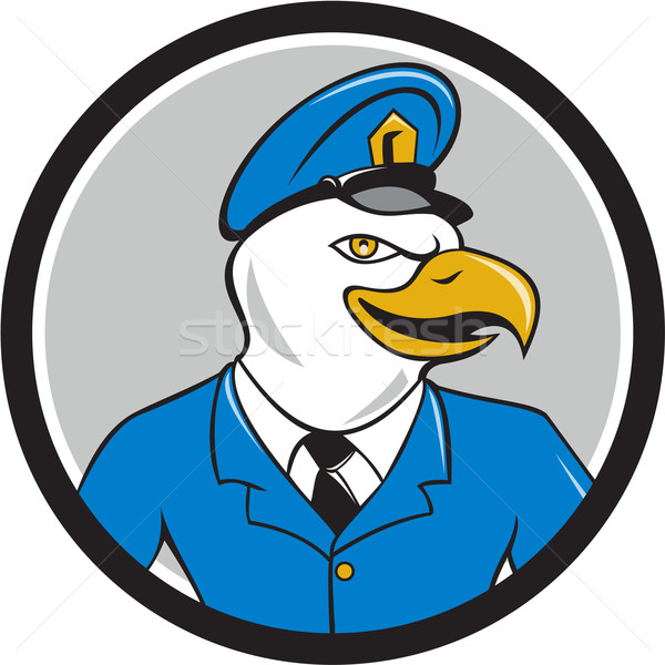 Bald Eagle Policeman Circle Cartoon Stock photo © patrimonio