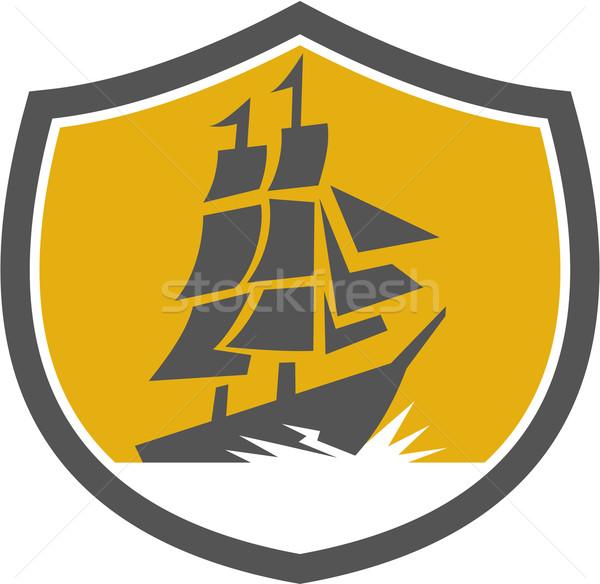 Sailing Galleon Tall Ship Crest Retro Stock photo © patrimonio