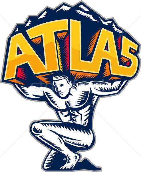 Atlas Lifting Mountain Kneeling Woodcut Stock photo © patrimonio