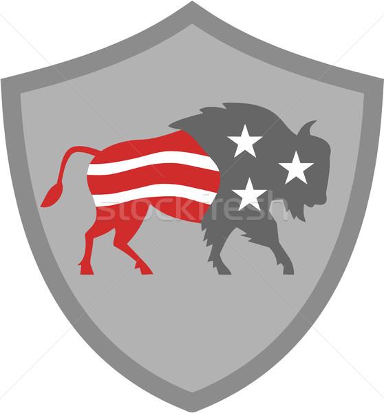 North American Bison USA Flag Shield Retro Stock photo © patrimonio