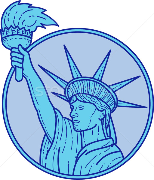 Statue of Liberty Flaming Torch Circle Mono Line Stock photo © patrimonio