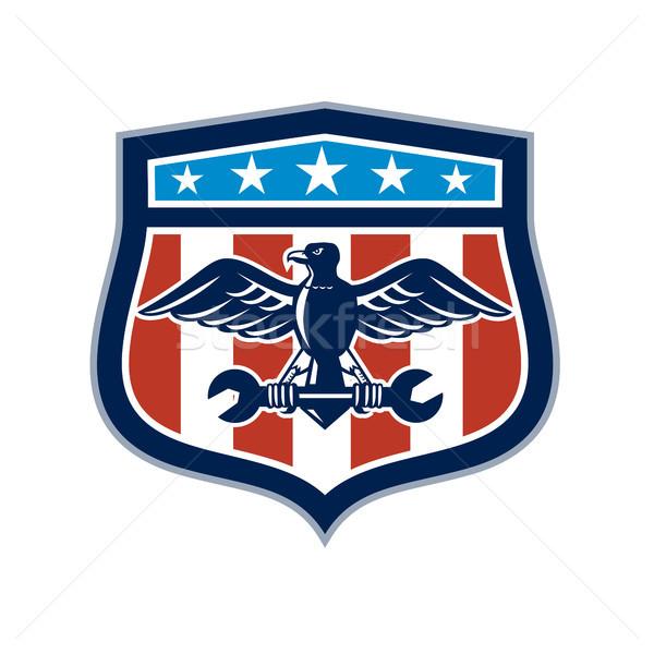 Amerikai sas szerelő USA zászló címer Stock fotó © patrimonio
