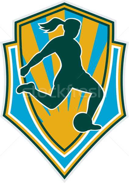 soccer player woman kicking ball shield Stock photo © patrimonio