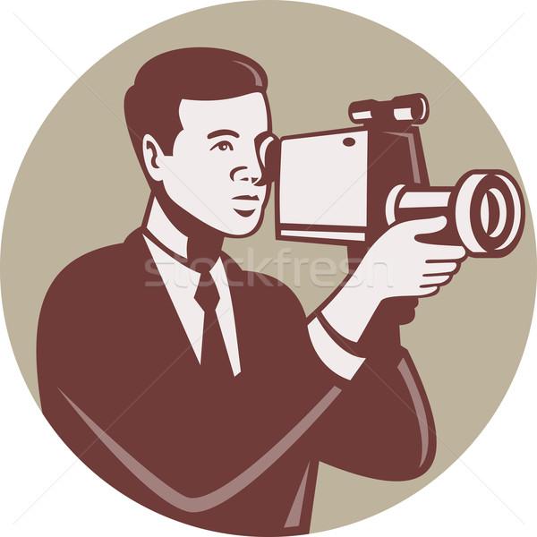 カメラマン 撮影 ビデオカメラ レトロな 実例 男性 ストックフォト © patrimonio