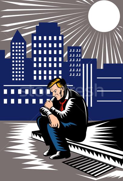 безработный мужчины работник тротуаре иллюстрация бездомным Сток-фото © patrimonio
