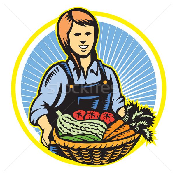 Organic Farmer Farm Produce Harvest Retro Stock photo © patrimonio