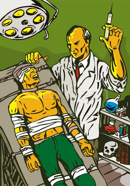 Crazy Mad Scientist Injecting Stock photo © patrimonio