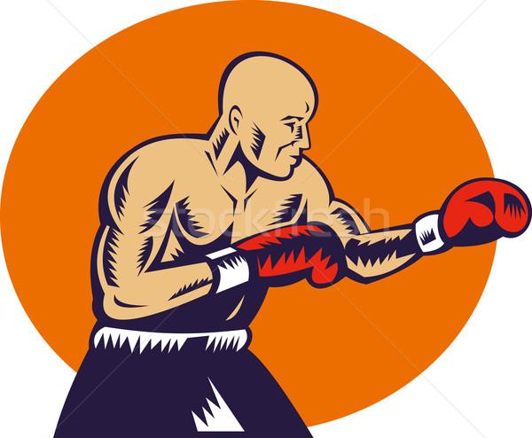 boxer jabbing side view Stock photo © patrimonio