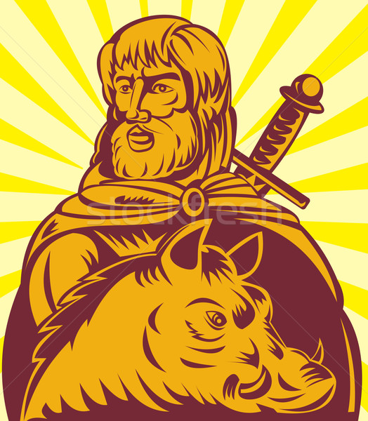 Frey Norse god of agriculture with sword and boar Stock photo © patrimonio
