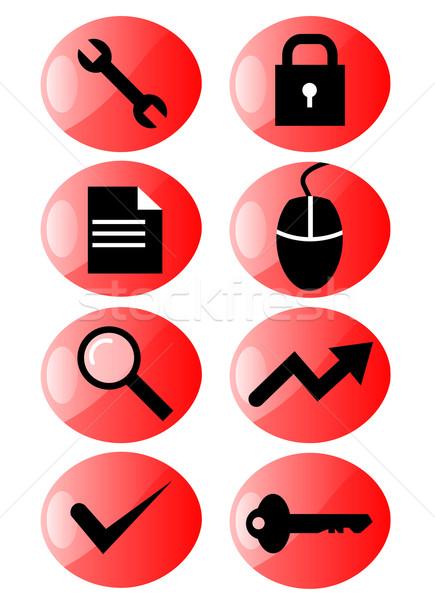Web simgesi ayarlamak örnek web tasarımlar kırmızı Stok fotoğraf © patrimonio