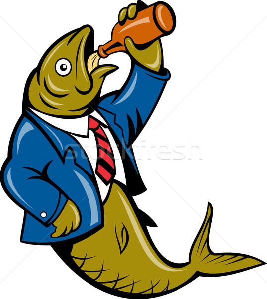 Herring fish business suit drinking beer bottle Stock photo © patrimonio