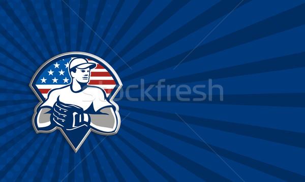 American Baseball Pitcher Gloves Retro Stock photo © patrimonio