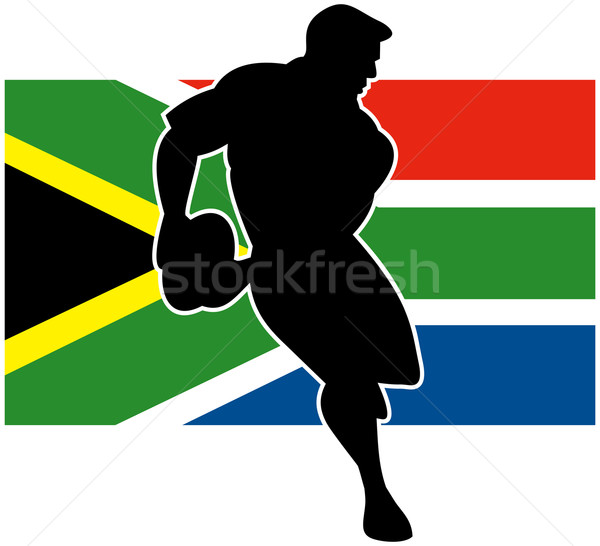 rugby running player flag of south africa Stock photo © patrimonio