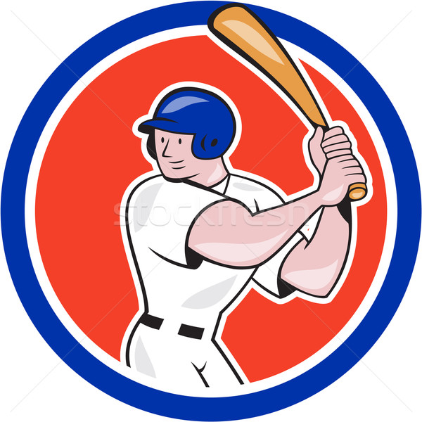 Baseball Player Batting Circle Side Cartoon Stock photo © patrimonio