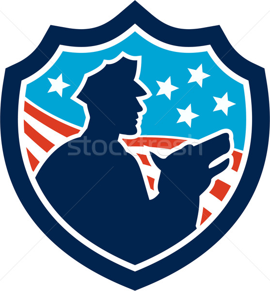 American Security Guard With Police Dog Shield Stock photo © patrimonio