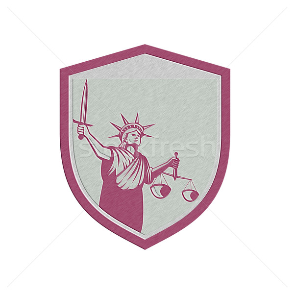Metallic Statue of Liberty Holding Sword Scales Justice Shield Stock photo © patrimonio