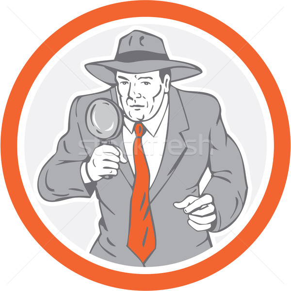 Detective Holding Magnifying Glass Circle Retro Stock photo © patrimonio