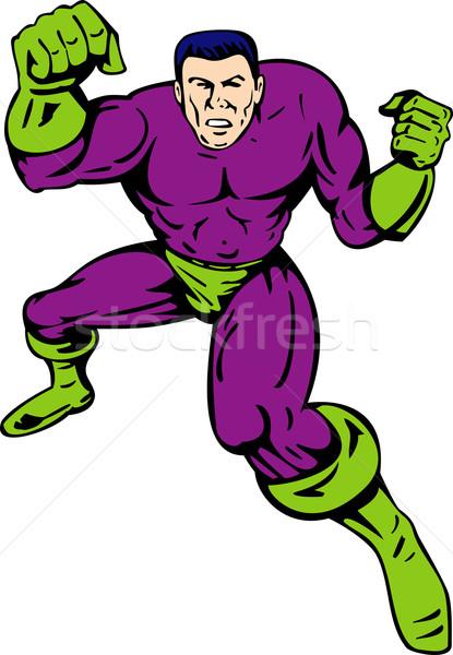 Superhero stand and punch Stock photo © patrimonio