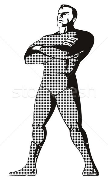 Superhero standing upright black and white Stock photo © patrimonio