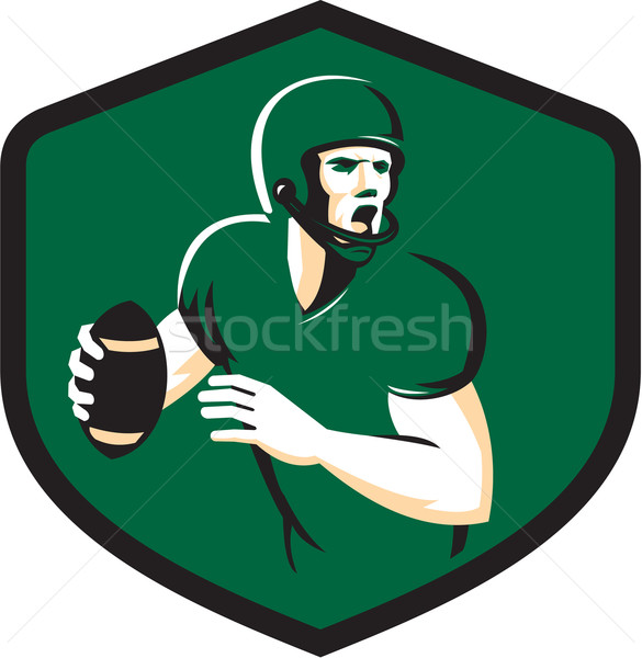 American Football Quarterback QB Shield Retro Stock photo © patrimonio