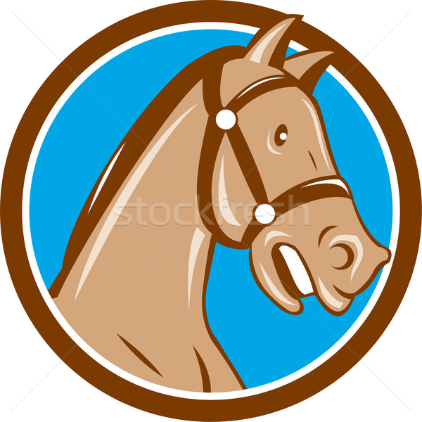 Horse Head Bridle Circle Cartoon Stock photo © patrimonio