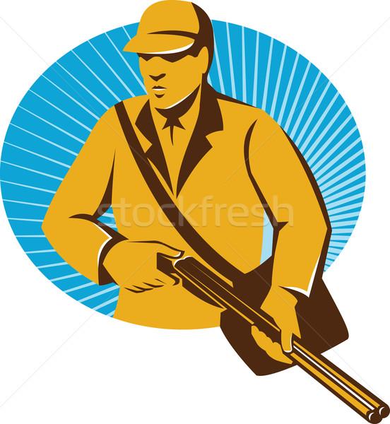 Jager jacht geweer retro illustratie Stockfoto © patrimonio
