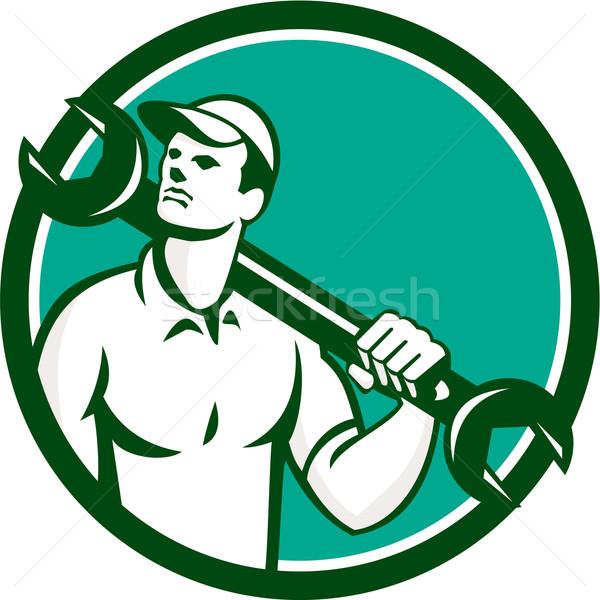 Mechanic Spanner Wrench Looking Up Retro Stock photo © patrimonio