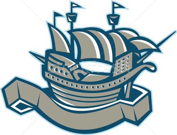 Zeilschip scroll illustratie lint vlag geïsoleerd Stockfoto © patrimonio