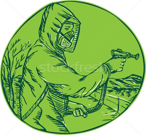 Herbicide Pesticide Control Exterminator Spraying Etching Stock photo © patrimonio