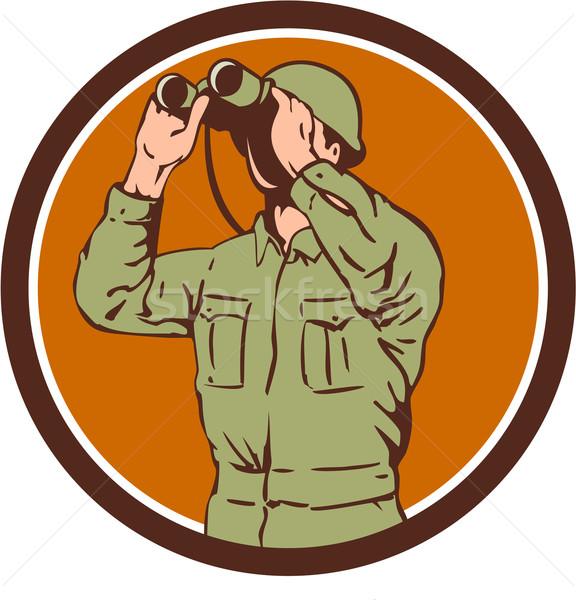 World War Two American Soldier Binoculars Retro Circle Stock photo © patrimonio