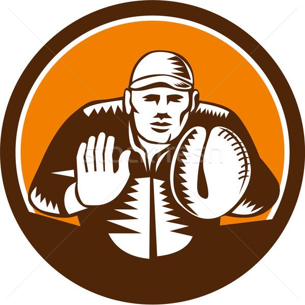 Baseball Catcher Gloves Circle Woodcut Stock photo © patrimonio