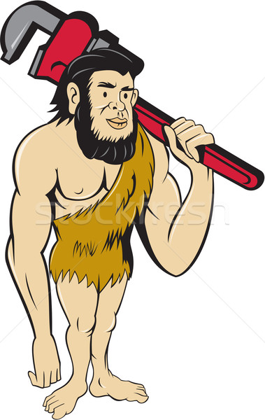 Neanderthal CaveMan Plumber Monkey Wrench Cartoon Stock photo © patrimonio