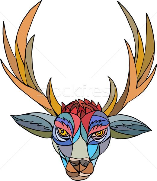 Red Stag Deer Head Mosaic Stock photo © patrimonio
