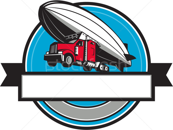 Half Zeppelin Blimp Half Semi-Truck Flying Overhead Retro Stock photo © patrimonio