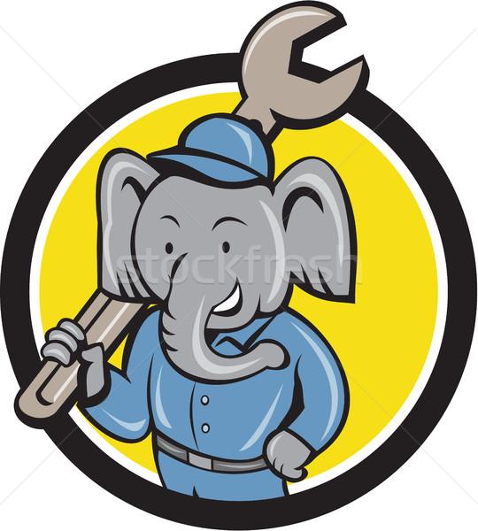 Elephant Mechanic Spanner Shoulder Circle Cartoon Stock photo © patrimonio