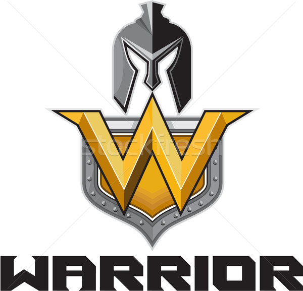 Spartan Warrior Helmet Shield W Retro Stock photo © patrimonio