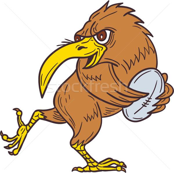 Kiwi Bird Running Rugby Ball Drawing Stock photo © patrimonio