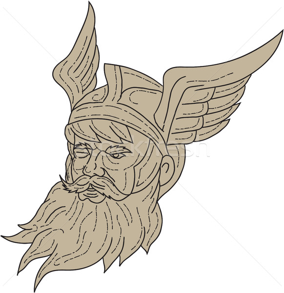 Norse God Odin Head Drawing Stock photo © patrimonio