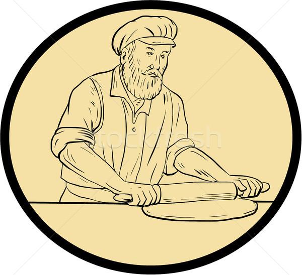 średniowiecznej piekarz wałkiem owalny rysunek szkic Zdjęcia stock © patrimonio