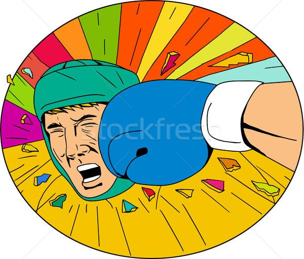 Amator bokser rękawica owalny rysunek szkic Zdjęcia stock © patrimonio