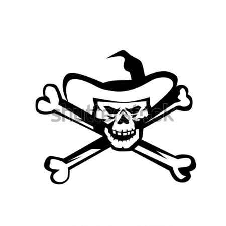 Cowboy pirackich czaszki krzyż kości retro Zdjęcia stock © patrimonio