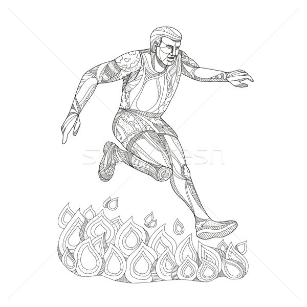 Obstacle Racer Jumping Fire Doodle Art Stock photo © patrimonio