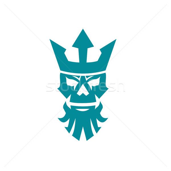 Poseidon Skull Wearing Crown Icon Stock photo © patrimonio