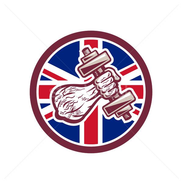 Brits personal trainer vlag icon retro-stijl Stockfoto © patrimonio