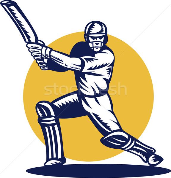 cricket sports batsman batting front view Stock photo © patrimonio