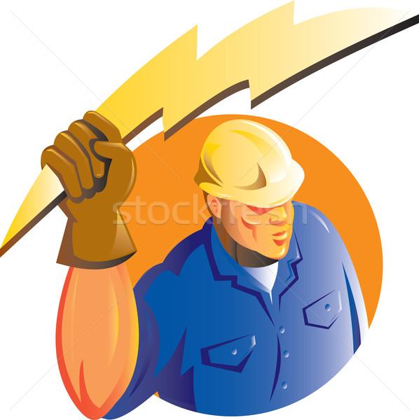Construction worker electrician lightning bolt Stock photo © patrimonio