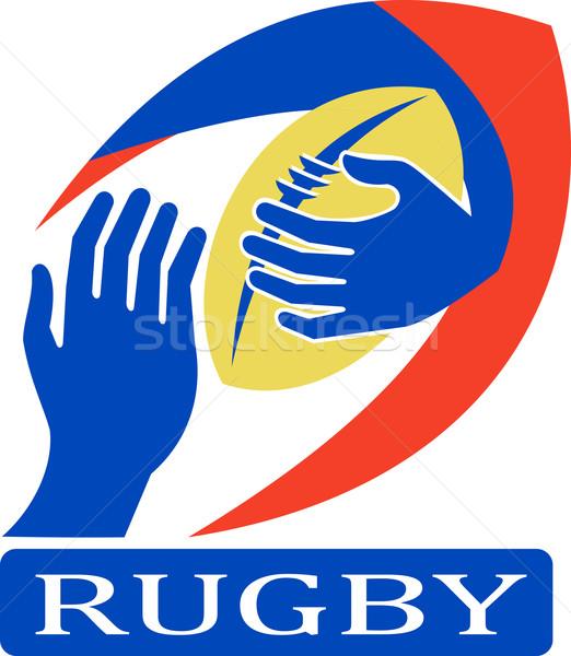 Rugby ball strony ilustracja odizolowany Zdjęcia stock © patrimonio