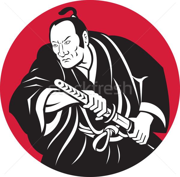 Japonês samurai guerreiro desenho espada ilustração Foto stock © patrimonio